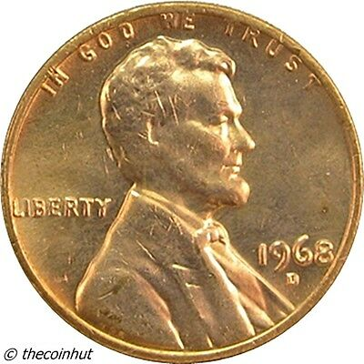 1968 D Unc Lincoln Memorial Copper Penny Cent Coin US Coins Coinhut5004