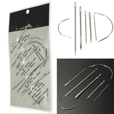 7 pc Hand Repair Upholstery Sewing Needles Carpet Leather Curved Canvas NEW