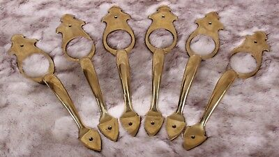 Antique Solid Brass Door Handle Pulls Lot of 6 Matching Vintage Hardware