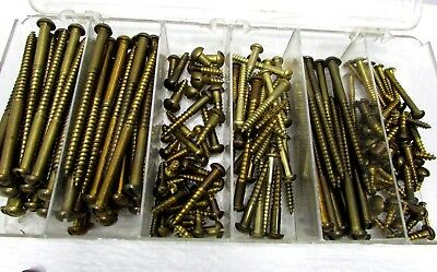 VTG 2+ LB Large Small Brass SLOTTED ROUND HEAD WOOD SCREWS Big Lot 150+