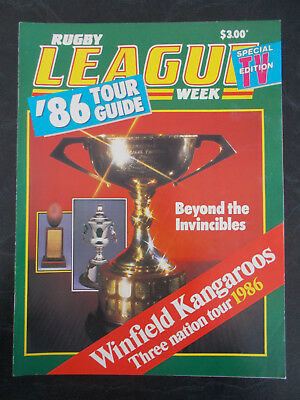 """Rugby  League Week Special Tv Edition """"86 Tour Guide Winfield Kangaroos 1986"""