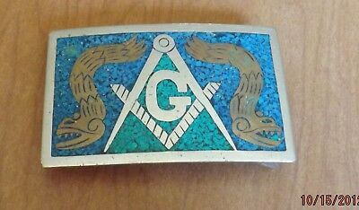 MASONIC Turquoise Inlay SILVER BELT BUCKLE w/ SERPENTS  Hecho En Mexico