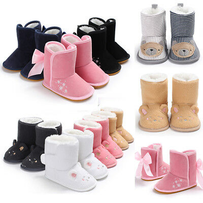 Winter Warm Baby Boots Infant Kids Booties Toddler Girls Boys Walking Shoes UK