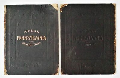 "1872 antique ATLAS COVER TITLE PAGE INDEX ONLY 17.75""x13.75"" pennsylvania topo"