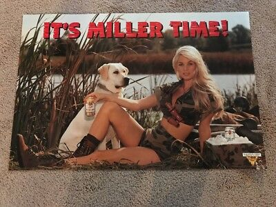 Miller Time Camo Girl Hunting Dog Beer Poster.  30x20
