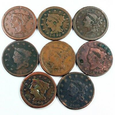 Group Lot of 8 Early U.S. Large Cents - Exact Lot Shown 3033