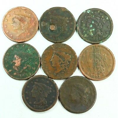 Group Lot of 8 Early U.S. Large Cents - Exact Lot Shown 3032