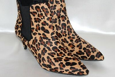 2202888c4c6c ZARA BASIC Leopard Calf Hair Leather Pointed Toe Chelsea Ankle Boots Sz EU37