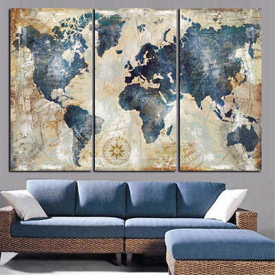 Framed Home Decor Retro World Maps Canvas Prints Painting Wall Art Poster 3PCS