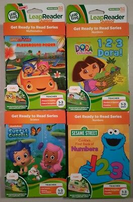 Leap Frog Leap Reader Junior/Tag Junior 4 Books Umizoomi, Dora, Guppies, Sesame