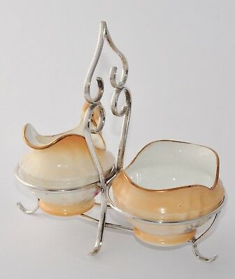 Antique Creamer & Sugar In a Silver Plate Stand/Cruet Anchor China/JB Chatterley
