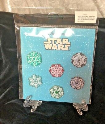 New Disney Parks Star Wars Holiday Snow Flakes 6 Pin Set