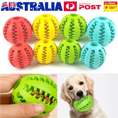 Dog Pet Chew Dispensing Toy Food Dispenser Ball Bite Clean Teeth Natural Rubber
