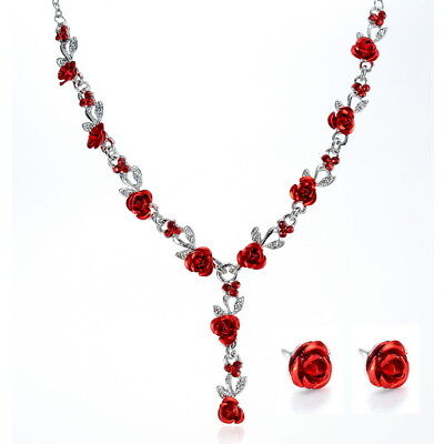 Women Fashion Red Rose Flower Necklace Stud Earrings Wedding Party Jewelry Set