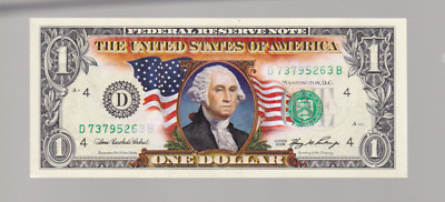 2006 $1 One Dollar Federal Reserve Note UNITED STATES Green Seal Coloured B-208