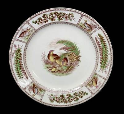 Antique 1885 F Primavesi Welsh Wales ironstone game bird large plate