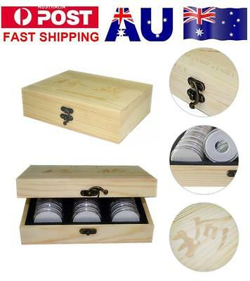 30pcs 20/25/30/35/40mm Round Coin Wooden Storage Box Container Display Case AU!