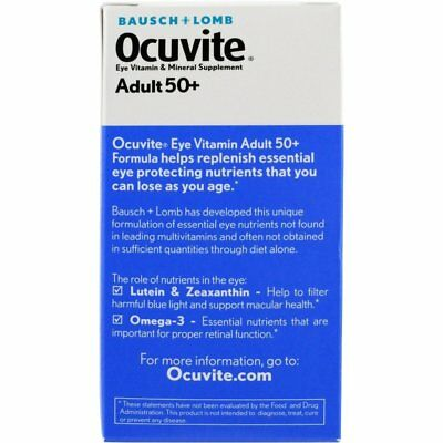 Bausch & Lomb Ocuvite Adult 50+ Eye Vitamin & Mineral Softgels 50 ea (Pack of 8)