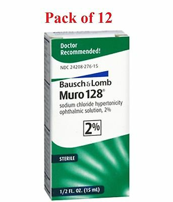 Bausch + Lomb Muro 128 Solution 2% Corneal Edema Relief 15 mL  (Pack of 12)