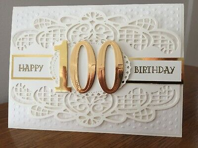 Gorgeous 100th birthday card -- stylish cream and gold with die cut 100 numbers