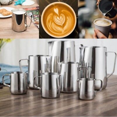 Stainless Steel Milk Frothing Jug Frother Coffee Latte Metal Pitcher Container