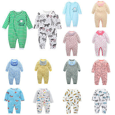 Newborn Baby Boy Girl Long Jumpsuit Romper Bodysuit Cotton Soft Clothes Outfits