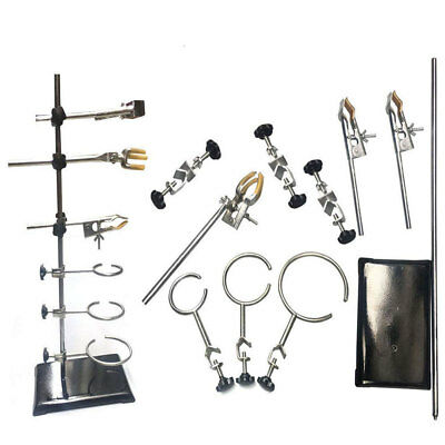 60cm Height Flask Condenser Lab Clamp Clip Set Laboratory Iron Stand Support US
