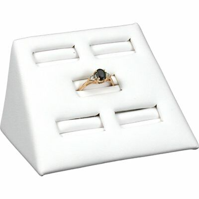 White Leather 5 Slot Ring Stand Jewelry Display 2""