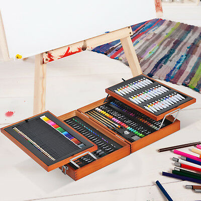 Deluxe Media Easel Artist Set Painting Drawing Art Supplies Wood Box 174 Pieces