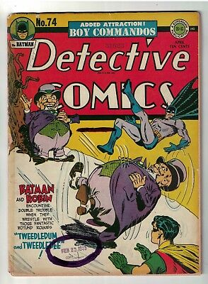 DC Detective Comics BATMAN Golden age #74 G/VG Tweedledum tweedledee 3.0