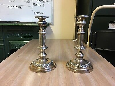 Antique Pair of silver plated telescopic candlesticks RC & Co Patent circa 1880