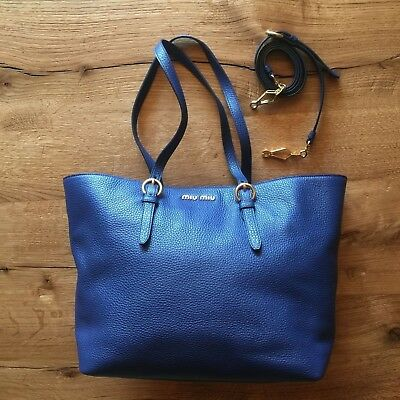 4d794d3d77c2 NEW MIU MIU Shopping Tote Cross Body Leather Blue bag AUTH adjustable strap