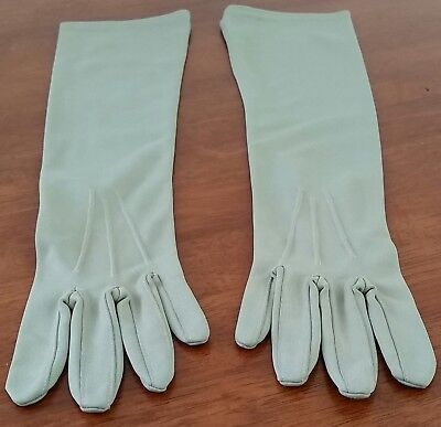 Vintage 70s FINELON Nylon LIGHT OLIVE GREEN Mid Length Day GLOVES size 6.5