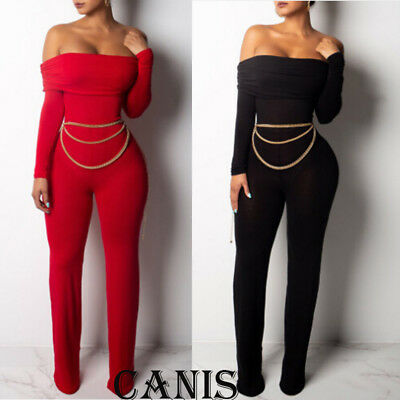 Women Jumpsuit Romper Bodycon Playsuit Clubwear Trousers Party Long Dress Pants