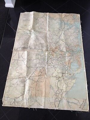 Old Vintage Cloth School Map of Greater Sydney 1950's HEC Robinson