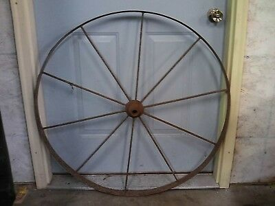 Old Vintage Antique Primitive Steel Flat Spoke Wagon Cart Wheel Farm Decoration