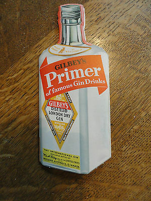 """Old UNUSUAL Bottle Shaped Foldout """"Gilbey's Gin  Primer"""" w/Pictures & Recipes"""