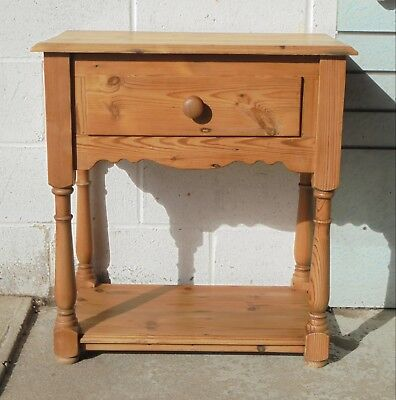 Antique Style Reclaimed Pine Side Hall Table Sink Unit With Drawer & Lower Shelf