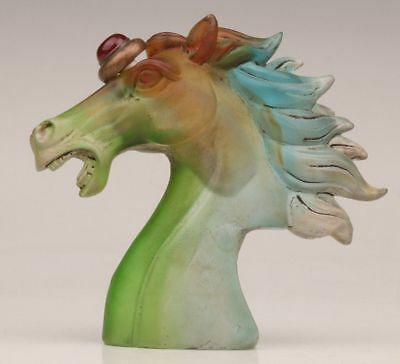 Rare Chinese Old Peking Colored Glaze Snuff Bottle Hand Carve Horse Head Statues