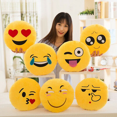Soft Emoji Smiley Emoticon Stuffed Plush Toy Doll Round Pillow Case Cover