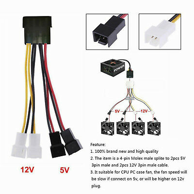 4-Pin Molex to 3-Pin CPU PC Case Lead Fan Power Splitter Cable Adapter Connector