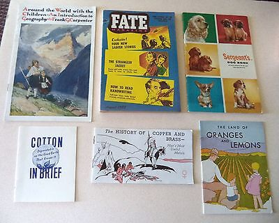 6 Advertising Booklets Dogs Copper Brass Geography Cotton Oranges+ Fate magazine