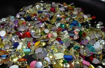 200g Acrylic Flat & Pointed Back Rhinestones Cabochons ASSORTED MIXED FLATBACK