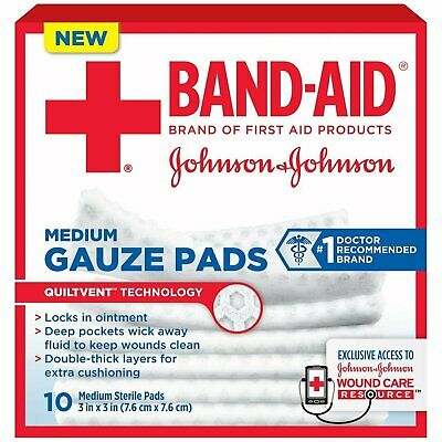 "Band-Aid Gauze Pads Medium 3x3"" - 10 ct, Pack of 5"