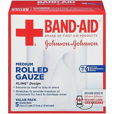 Band Aid Rolled Gauze Medium - 5 rolls, Pack of 6