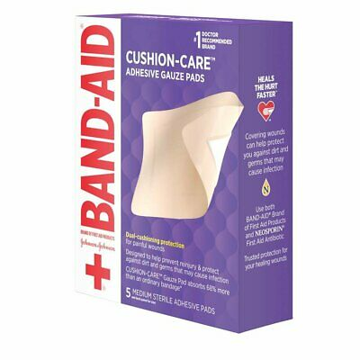 Band-Aid All-in-One Adhesive Gauze Pads Medium - 5 ct, Pack of 4