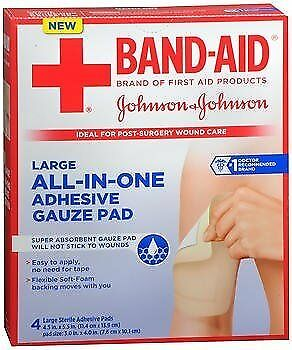 Band-Aid All-in-One Adhesive Gauze Pads Large - 4 ct, Pack of 4