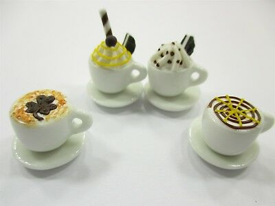 Dollhouse Miniatures Drink Beverage Set 4 Mixed Coffee Ceramic Cup Supply 14172