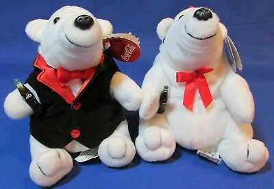"Two Bean Bag Plush 6"" Sitting Coca Cola Polar Bears – Has Tags – VG Cond"
