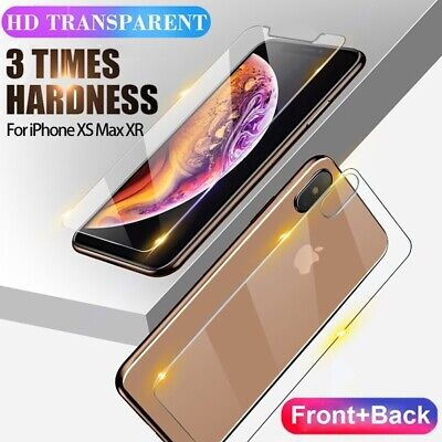 Front and Back Tempered Glass Screen Protector Film Guard For iPhone XR XS MAX 8
